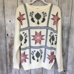 Vintage Abstract 90's Grandma Sweater Size Large
